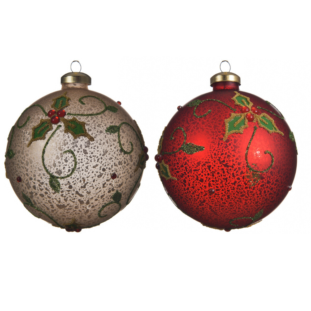 Holly Bauble (Set of 3)