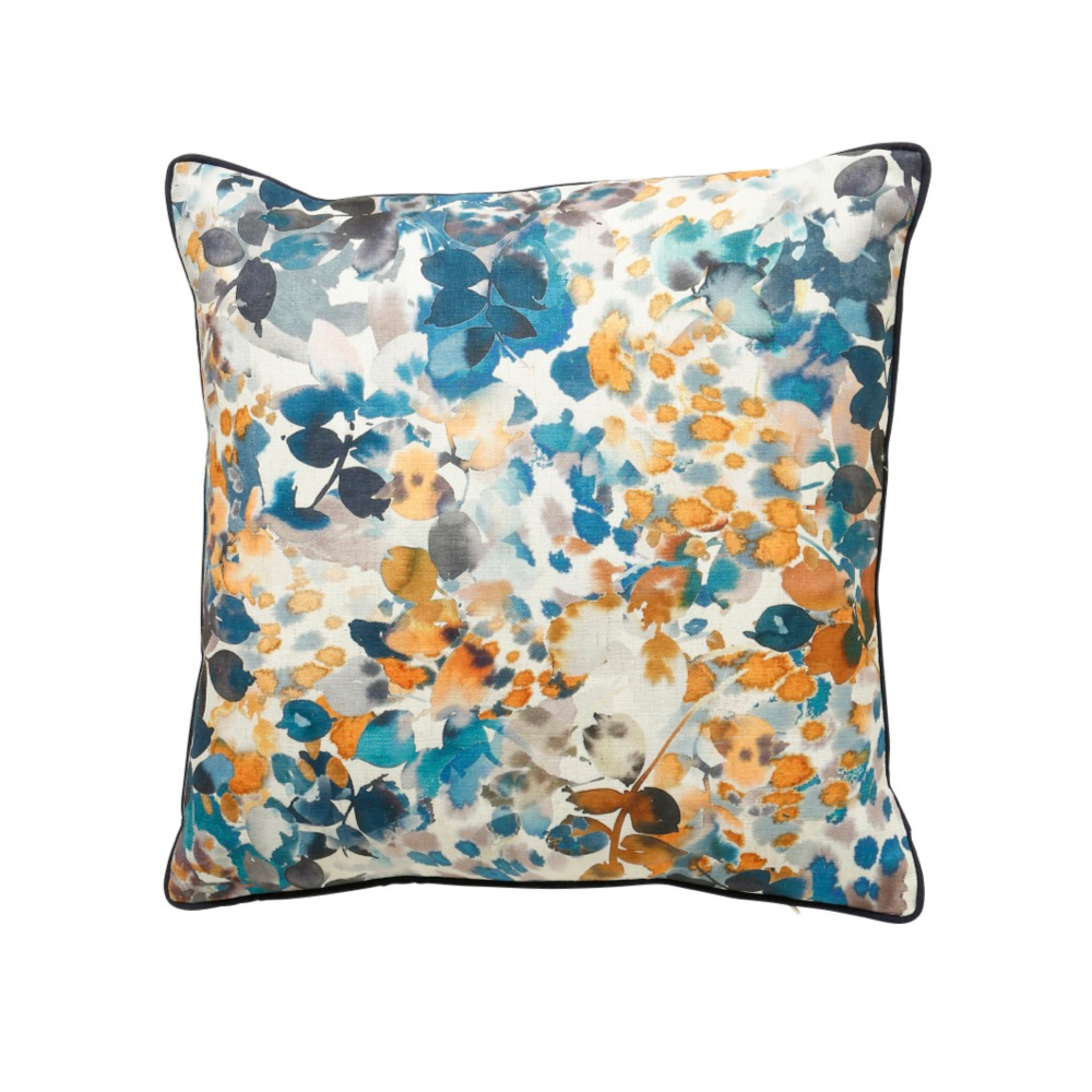 Amber 45x45cm Cushion, Blue/Orchre