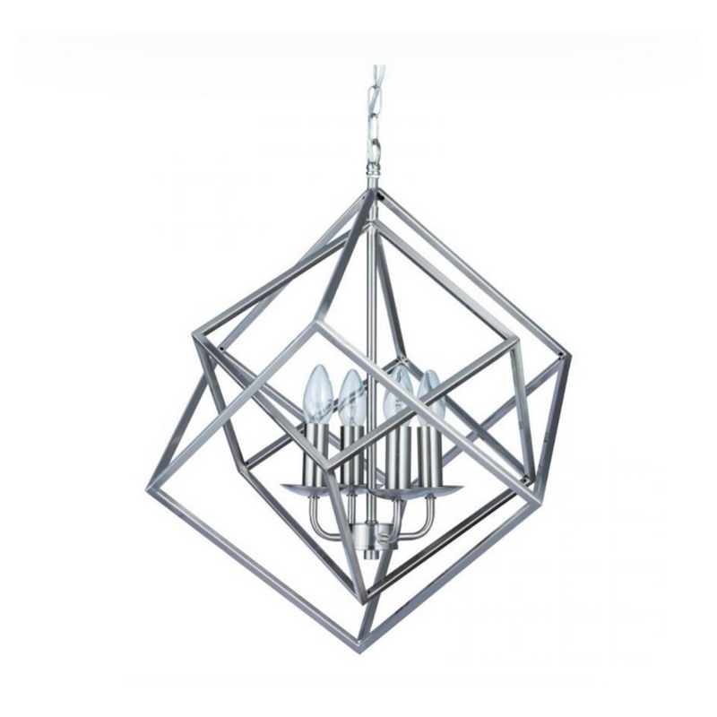 Satin Nickel Geometric Cube Pendant Light
