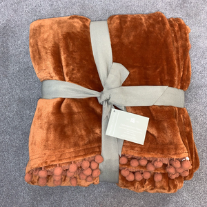 Cashmere Touch Fleece Throw - Burnt Orange