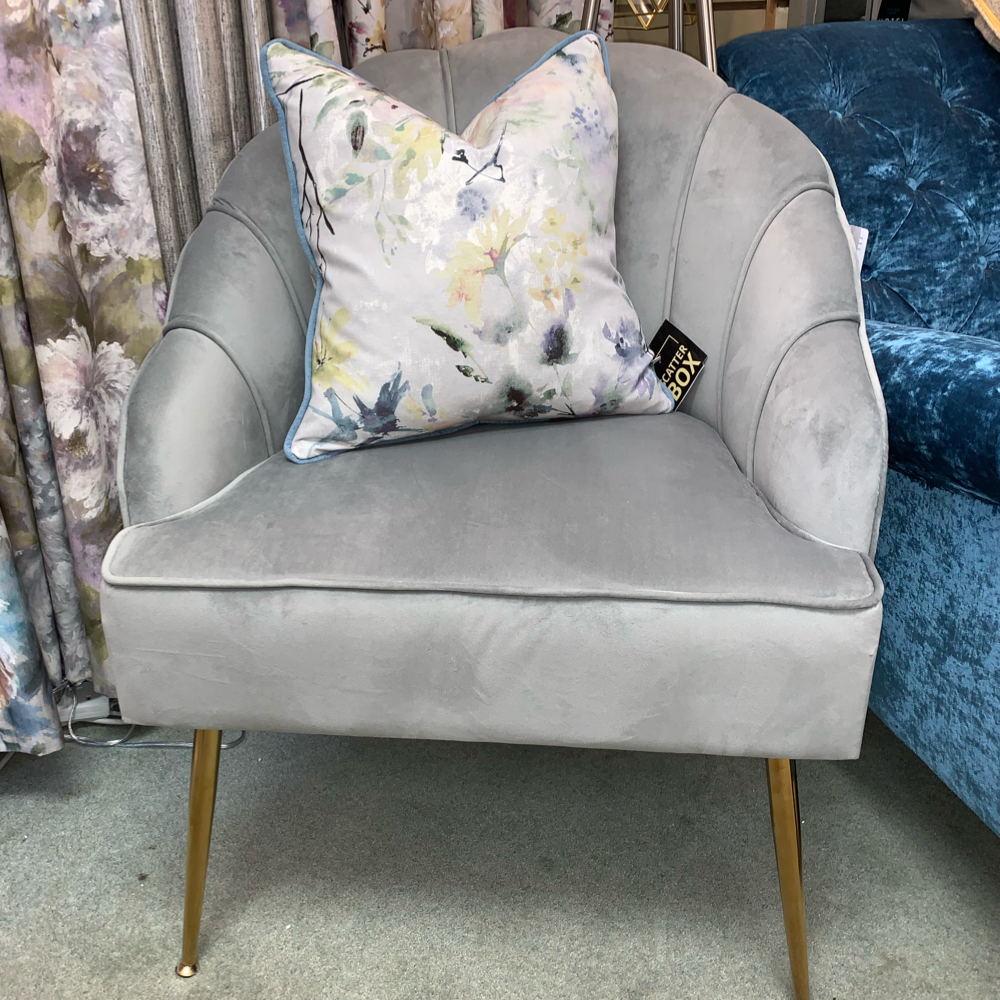 Shell Arm Chair (Light Grey with Gold Legs)