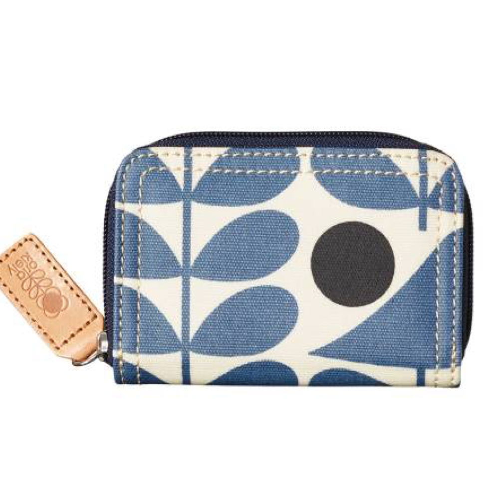 Prussian Blue Early Bird Print Med Zip Wallet