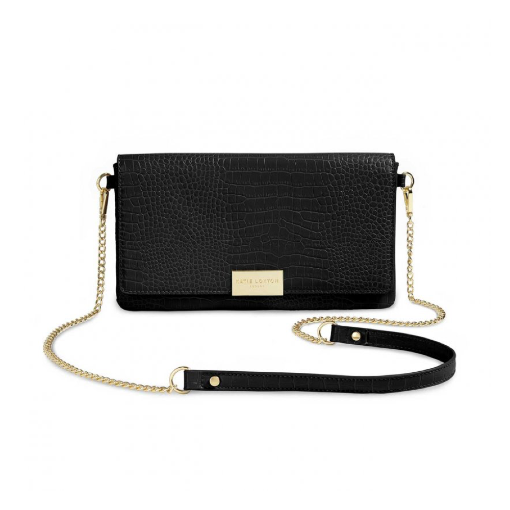 Celine Faux Croc Fold Over Crossbody - Black