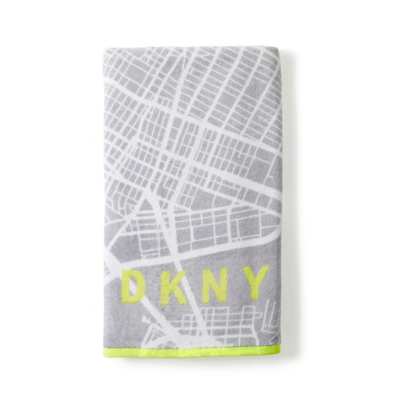 DKNY City Map Hand Towel, Grey