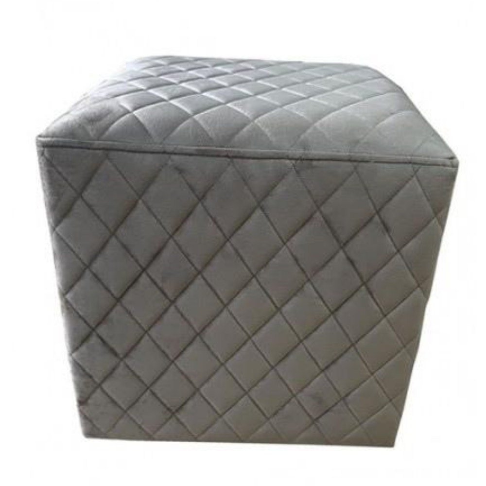Cubic Stool with Quilted Velvet (Taupe)
