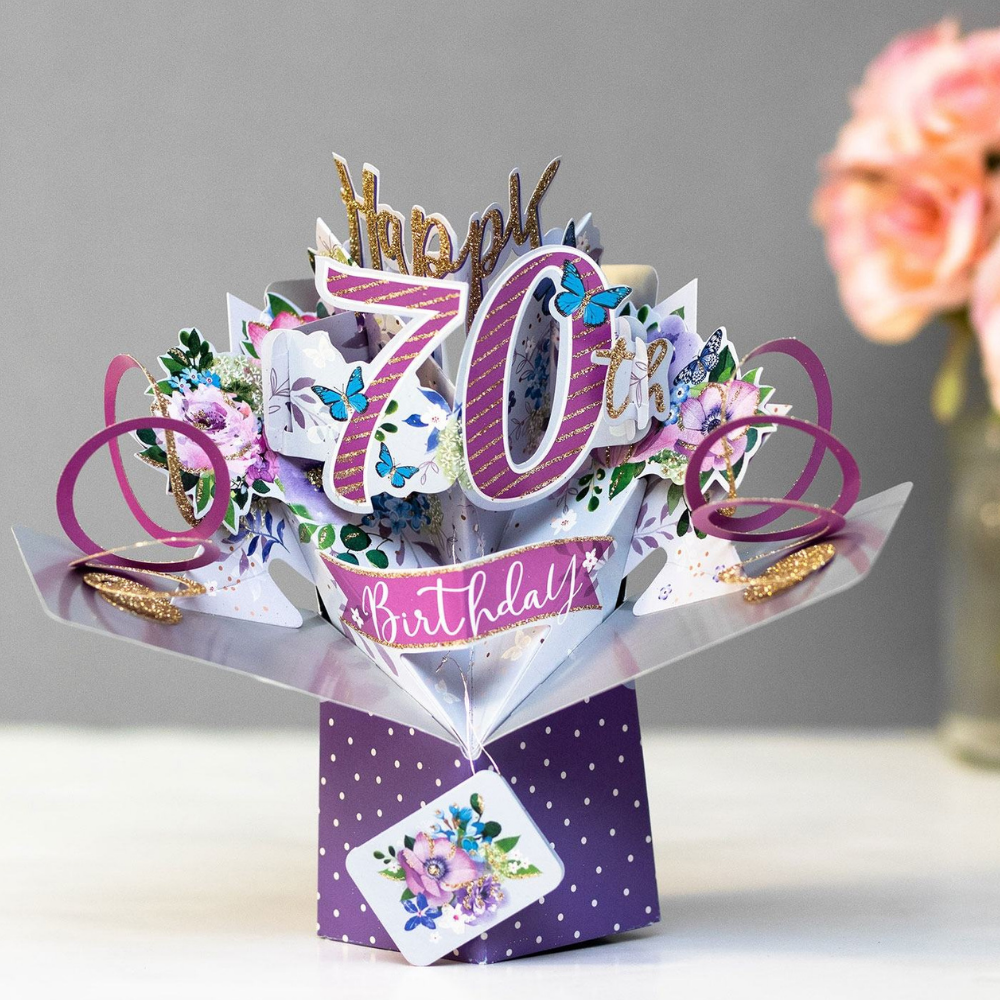 70th Birthday Flowers 3D Pop Up Card