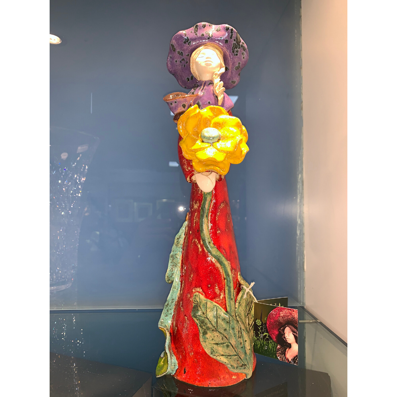Handcrafted Ceramic Lady Red with Sunflower