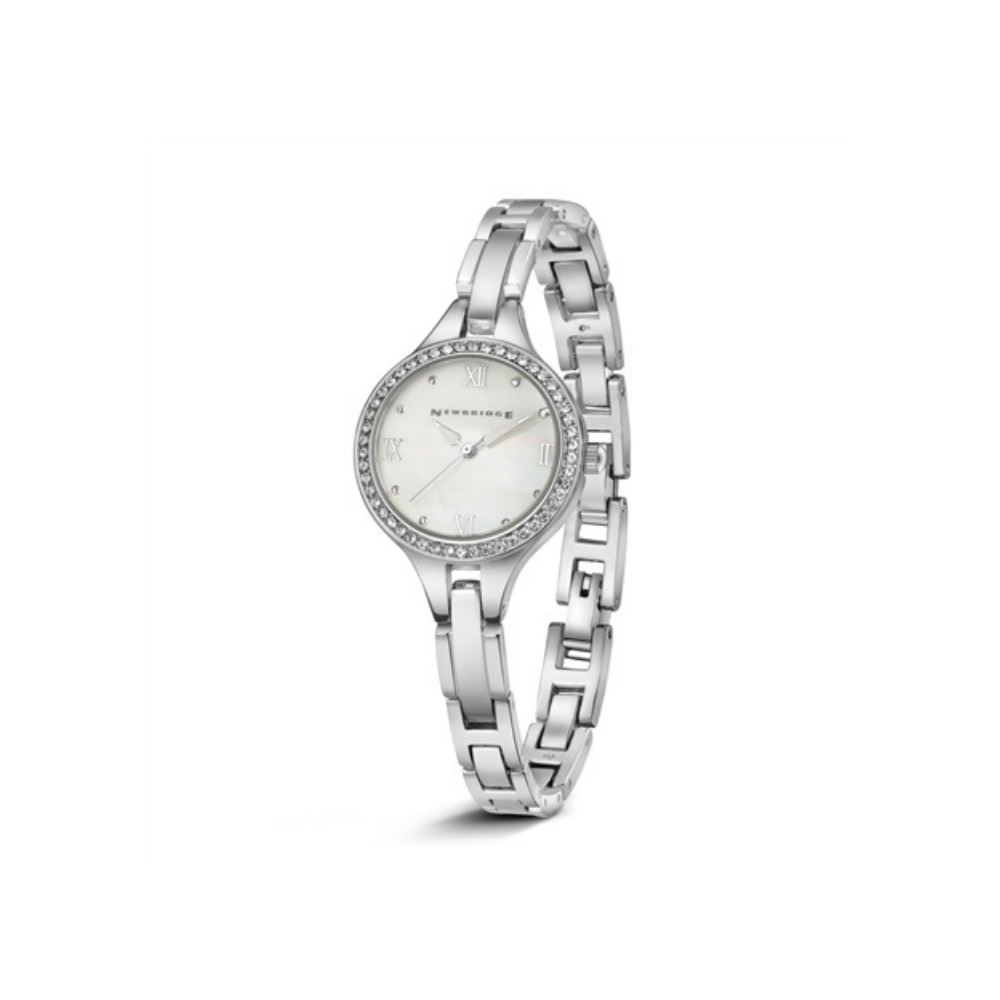 Ladies silver plated watch clear stones