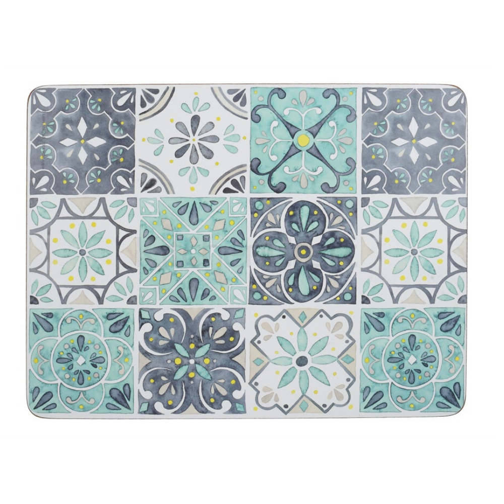 Green Tile Pack Of 6 Medium Placemats