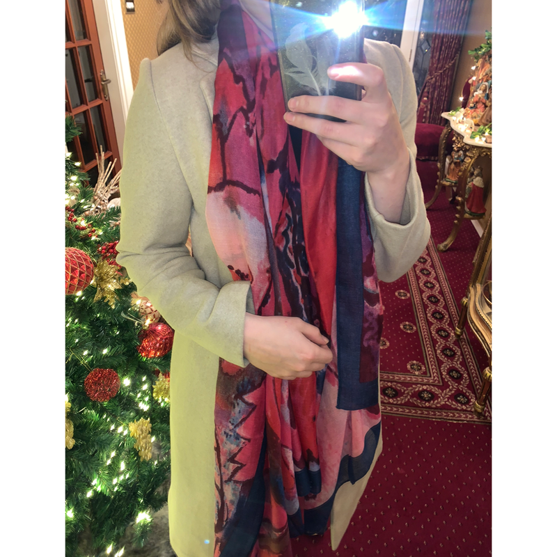 Pink & Navy Coloured Scarf