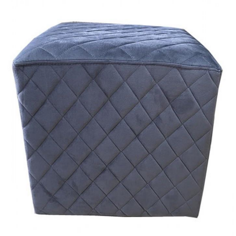 Cubic Stool with Quilted Velvet (Charcoal Grey)