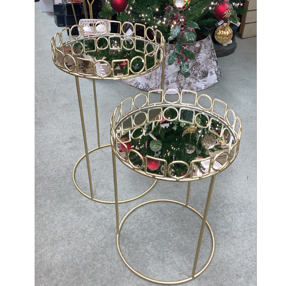 Mirrored Champagne Tables, Set of 2