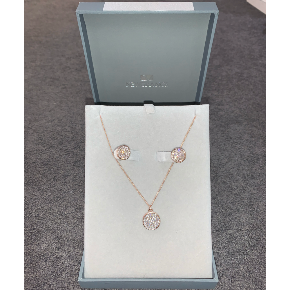 Rose Gold Diamante Necklace & Earring Set