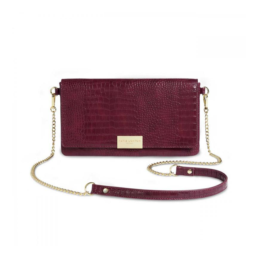 Celine Faux Croc Fold Over Crossbody - Burgundy