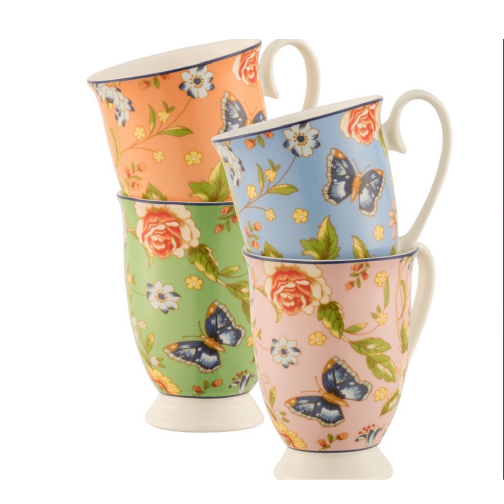 Cottage Garden Footed Mugs - Set of 4