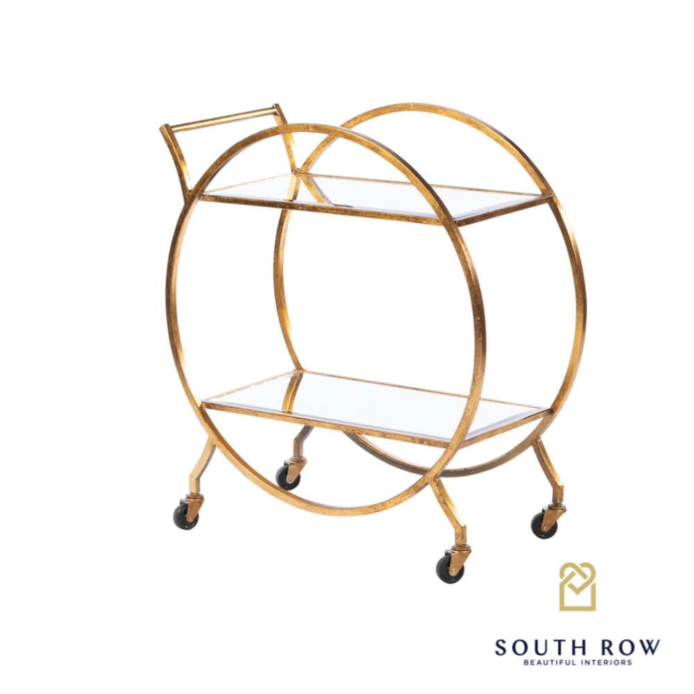 **PRE ORDER**Harriet Circle Drinks Trolley Rect Gold