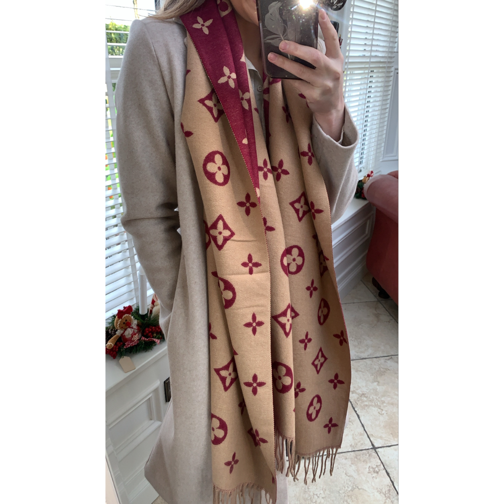 Camel & Red Pattern Scarf