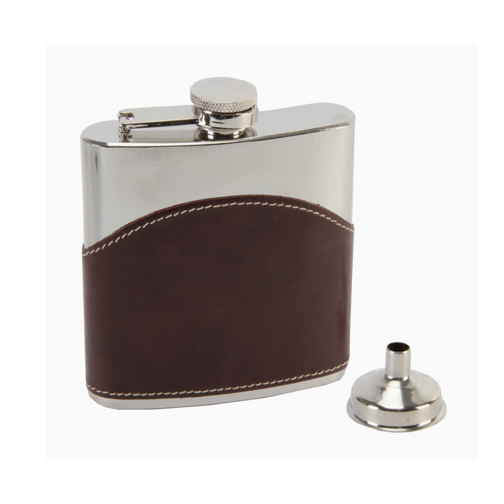 Brown Leather Hip Flask with Funnel 6oz