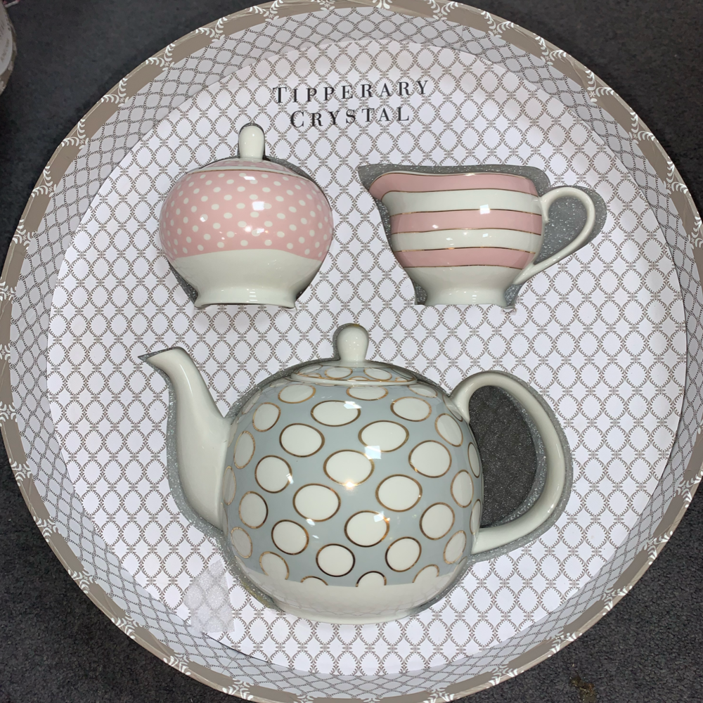 Spots and Stripes Teapot Sugar and Creamer Set
