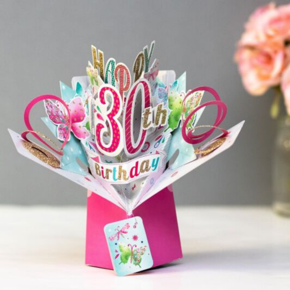 30th Birthday Butterflies 3D Pop Up Card