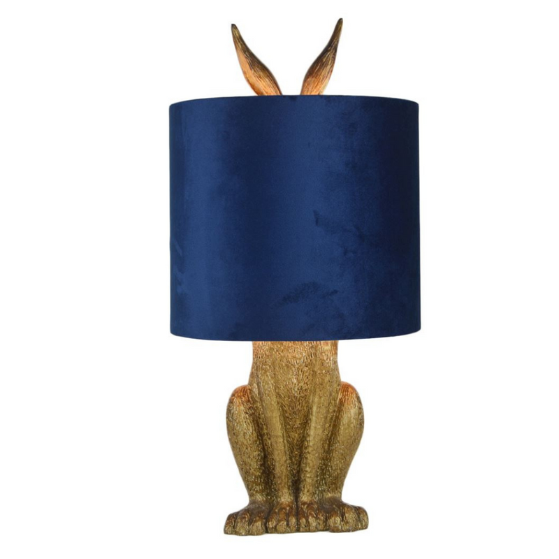 Antique Gold Hare Table Lamp with Blue Velvet Shade