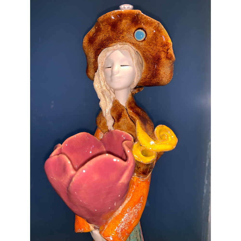 Handcrafted Ceramic Lady Orange with Tulip