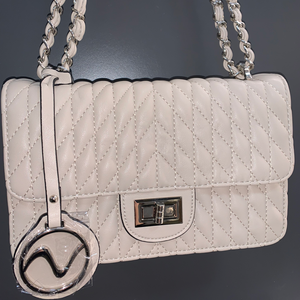 Quilted Shoulder Bag, Beige