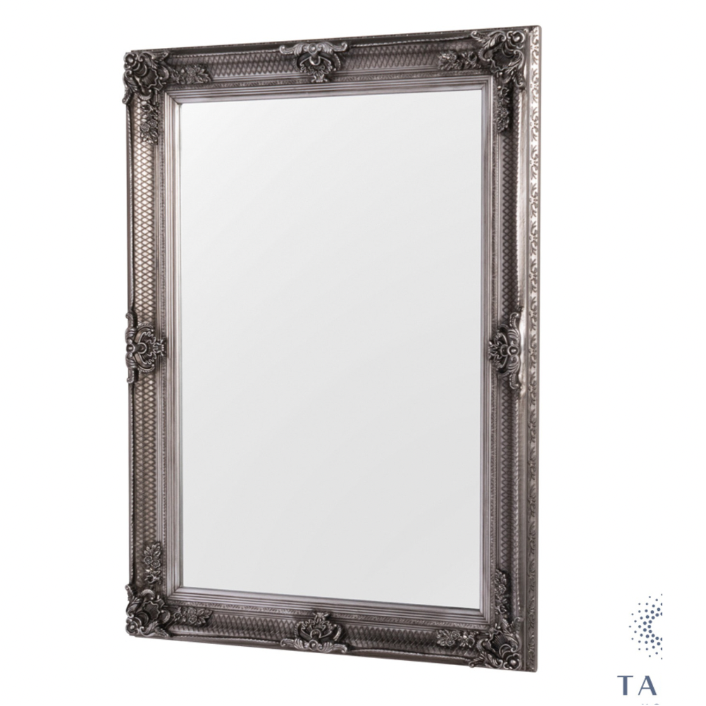 Elise Wall Mirror Antique Silver