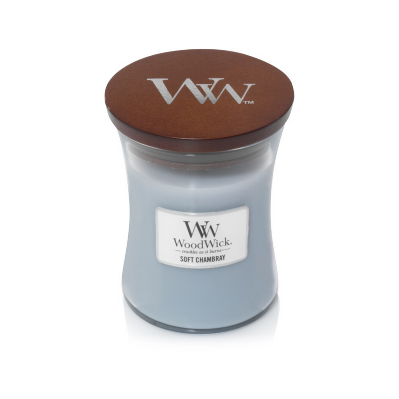 Woodwick candle medium soft chambray