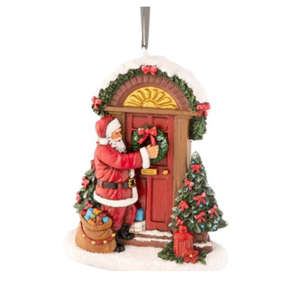 Aynsley Santa Placing Wreath Ornament