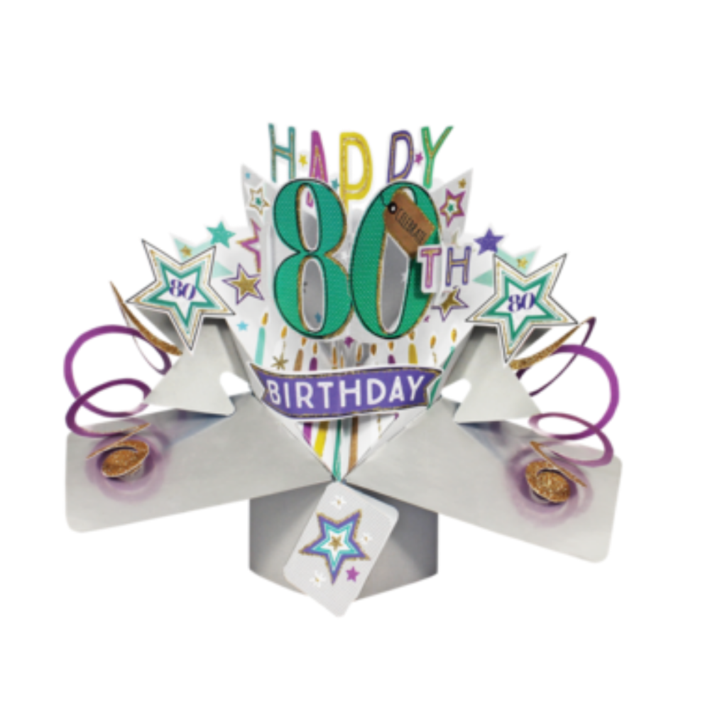 80th Birthday 3D Pop Up Card