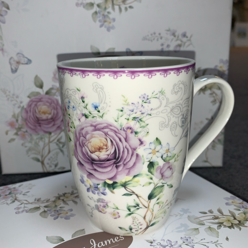 Purple Flower Mugs