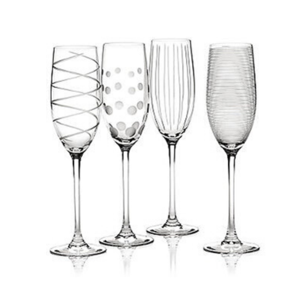 Cheers Champagne Flutes - Set of 4