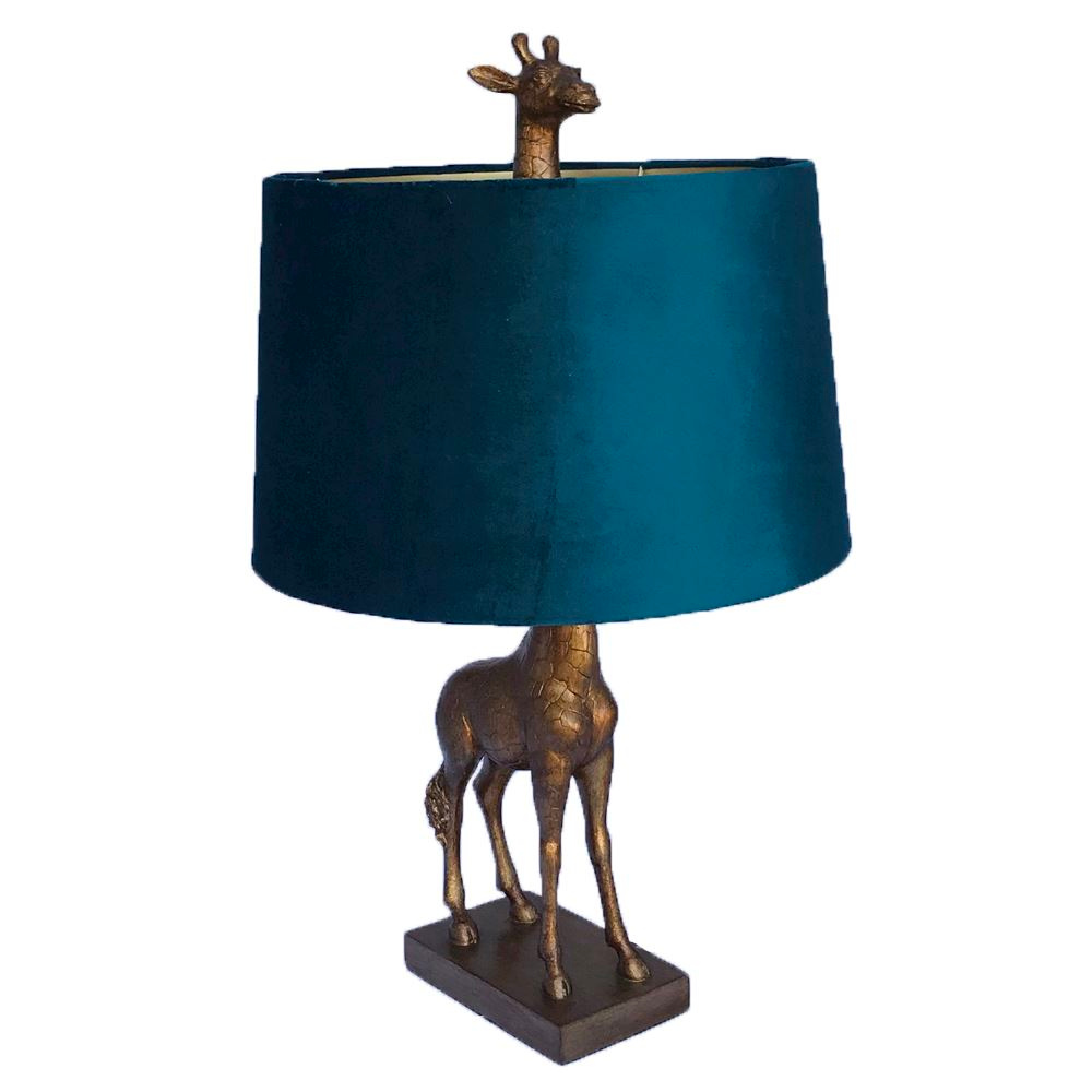 Antique Gold Giraffe Lamp with teal shade
