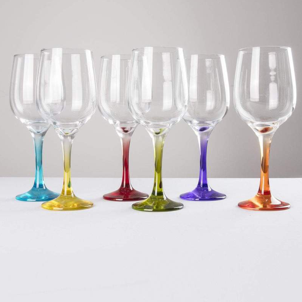 Coloured Wine Glasses x6