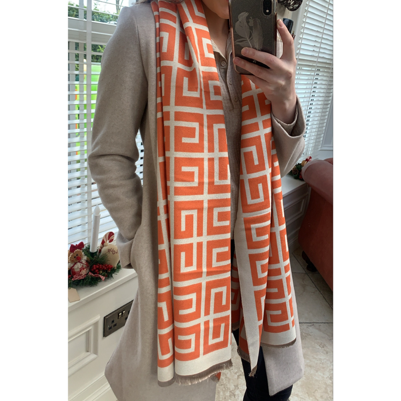 Orange & Cream Pattern Scarf