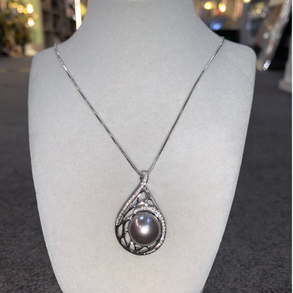 Grey Pearl Teardrop Necklace