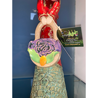 Handcrafted Ceramic Lady Red with Handbag