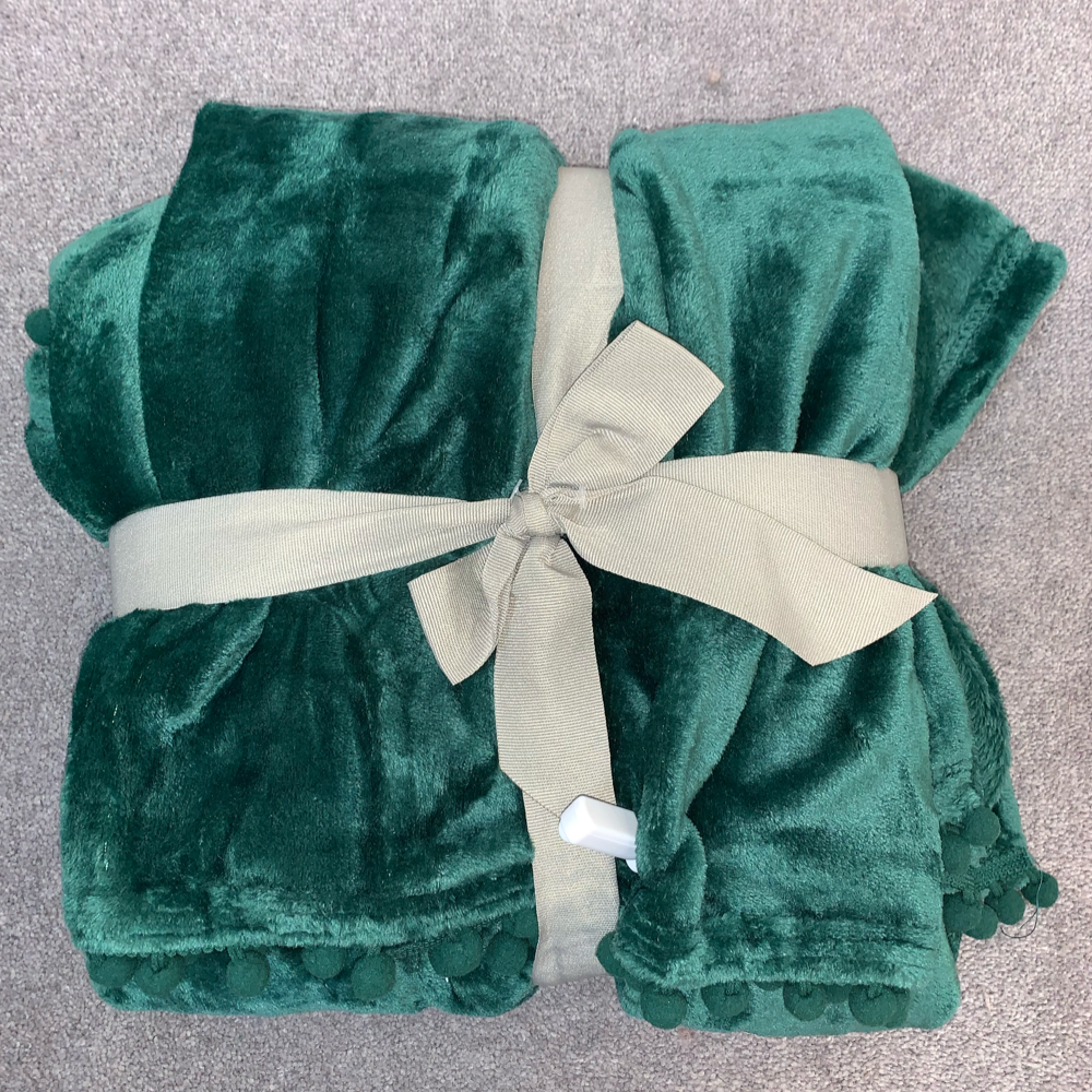 Cashmere Touch Fleece Throw - Emerald Green