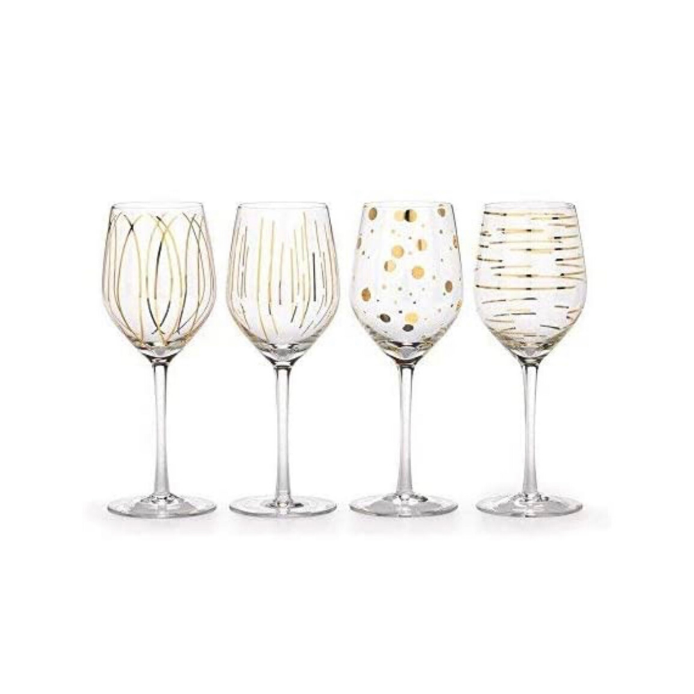 Cheers Gold Wine Glasses - Set of 4