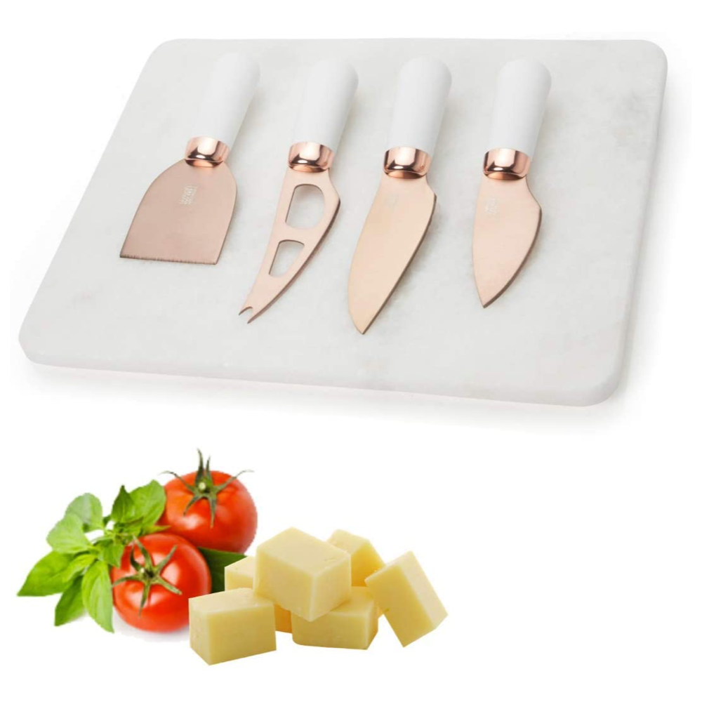 Rose Gold Marble Cheese Board & Cheese Knife Set