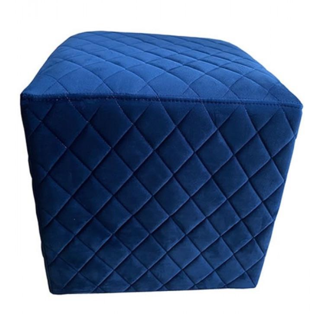 Cubic Stool with Quilted Velvet (Blue)