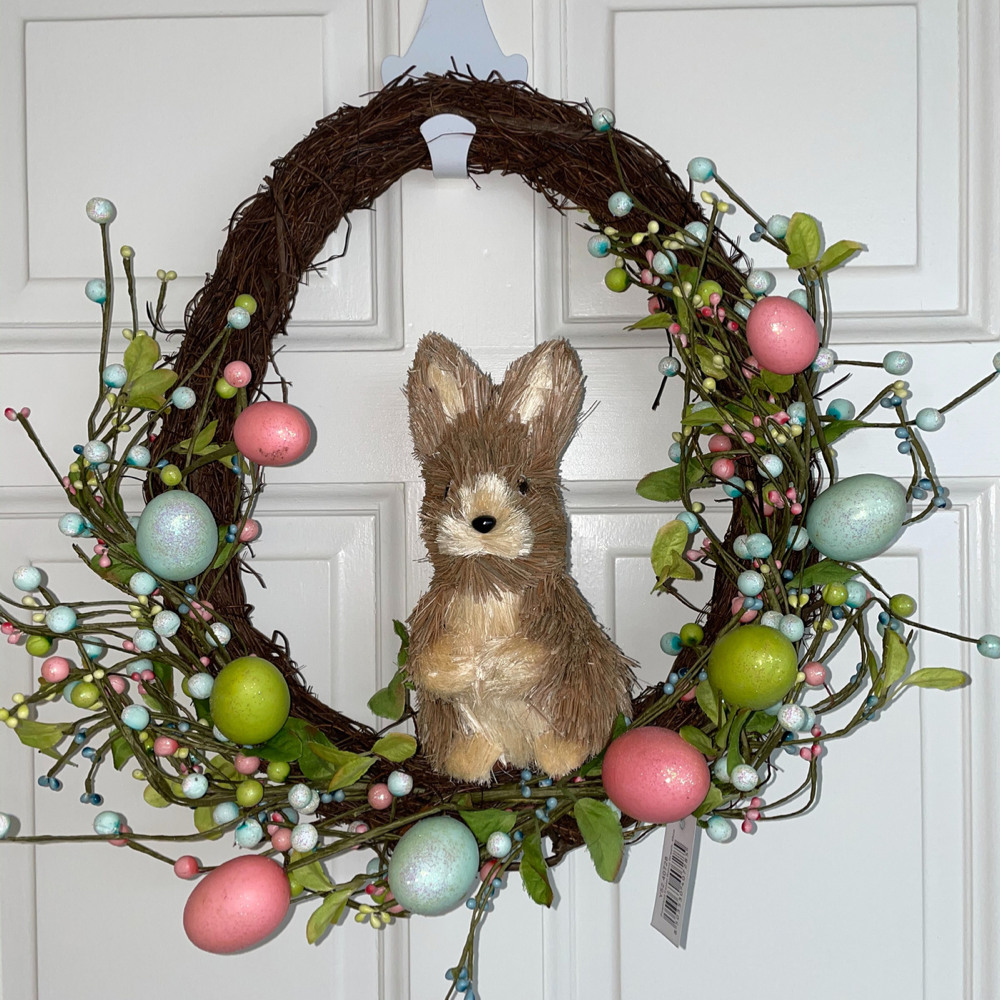 Pink Bunny Easter Wreath