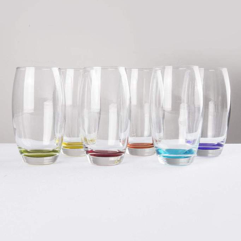 Coloured Hi-Ball Glasses x6