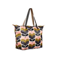 Stripe Rosebud Print Zip Shopper Bag