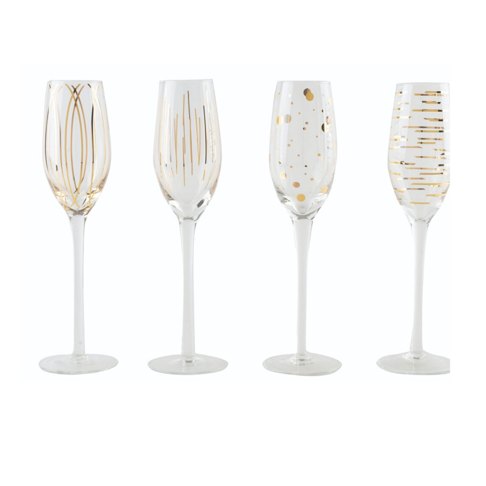 Cheers Gold Champagne Flutes - Set of 4