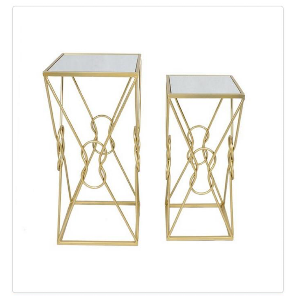 Square Plant Stands-Set of 2 Champagne