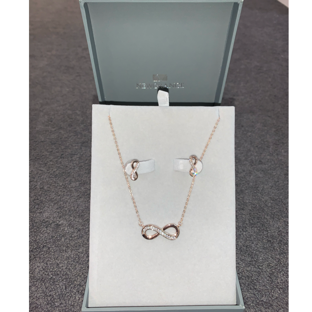 Rose Gold Infnity Necklace & Earring Set