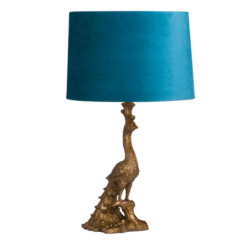 Antique Gold Peacock Lamp with teal shade