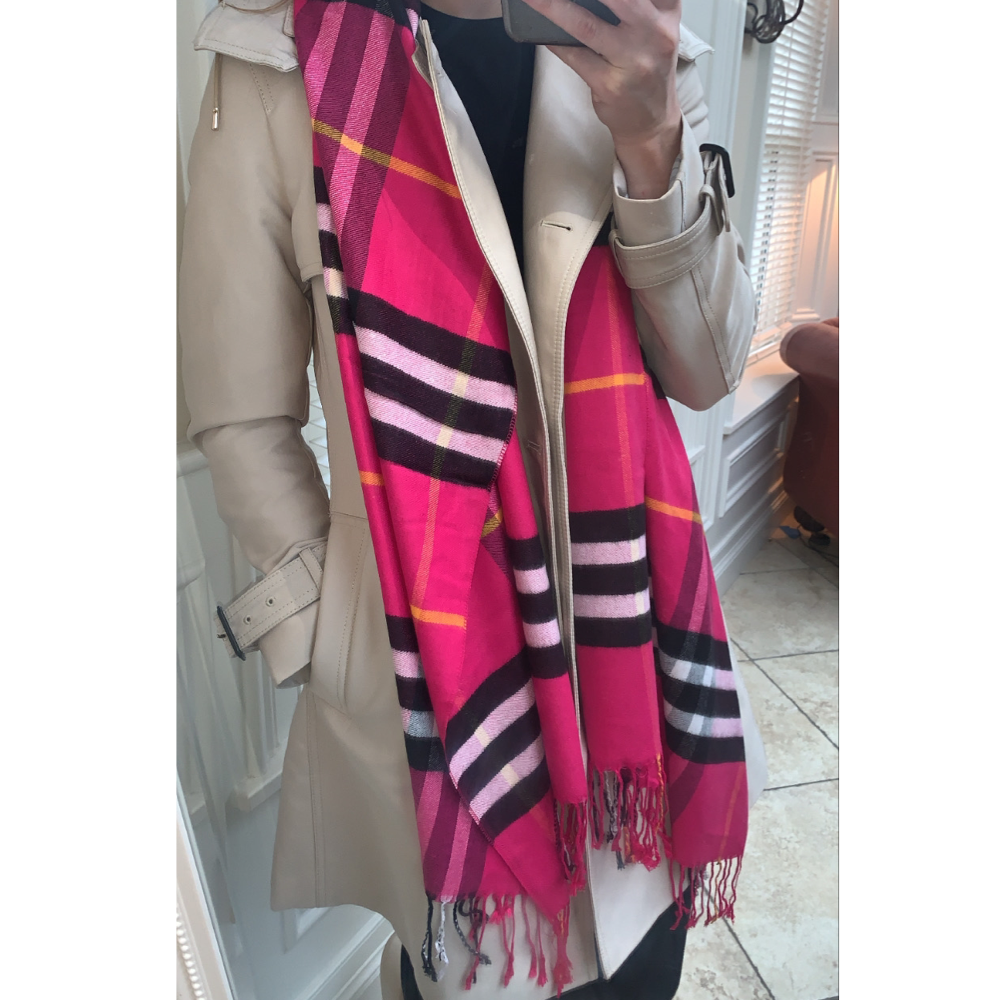 Check Scarf - Raspberry Pink